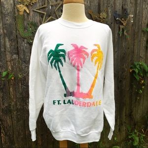 80s Neon Logo Ft Lauderdale Palm Tree Sweatshirt